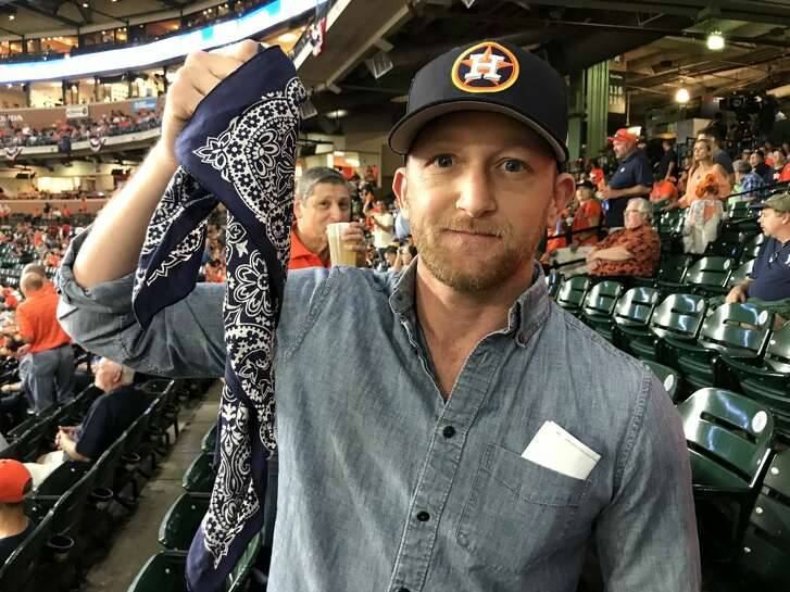 Actor Eric Ladin brought a blindfold to Game 6 of the Astros-Yankees series and plans to cover his eyes so he doesn't jinx the Astros.