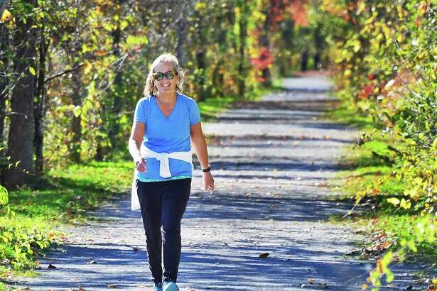 Stephanie Copeland of Vischer Ferry walks along the path at the Vischer Ferry Nature and Historic Preserve Friday Oct. 20, 2017 in Clifton Park, NY.    (John Carl D'Annibale / Times Union