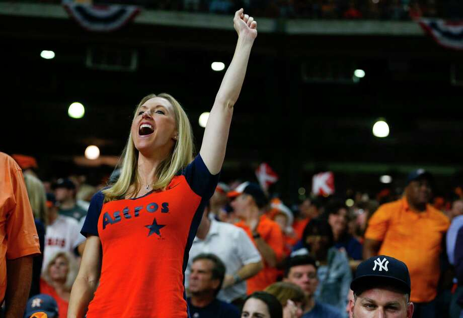 A fan cheers during the fourth inning of Game 6 of the ALCS at Minute Maid Park on Friday, Oct. 20, 2017, in Houston. Photo: Brett Coomer, Houston Chronicle / © 2017 Houston Chronicle