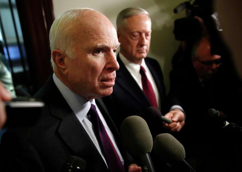 Sen. John McCain pointed to a very specific type of deferment that Trump used to avoid fighting in Vietnam. Photo: Jacquelyn Martin, STF / Copyright 2017 The Associated Press. All rights reserved.