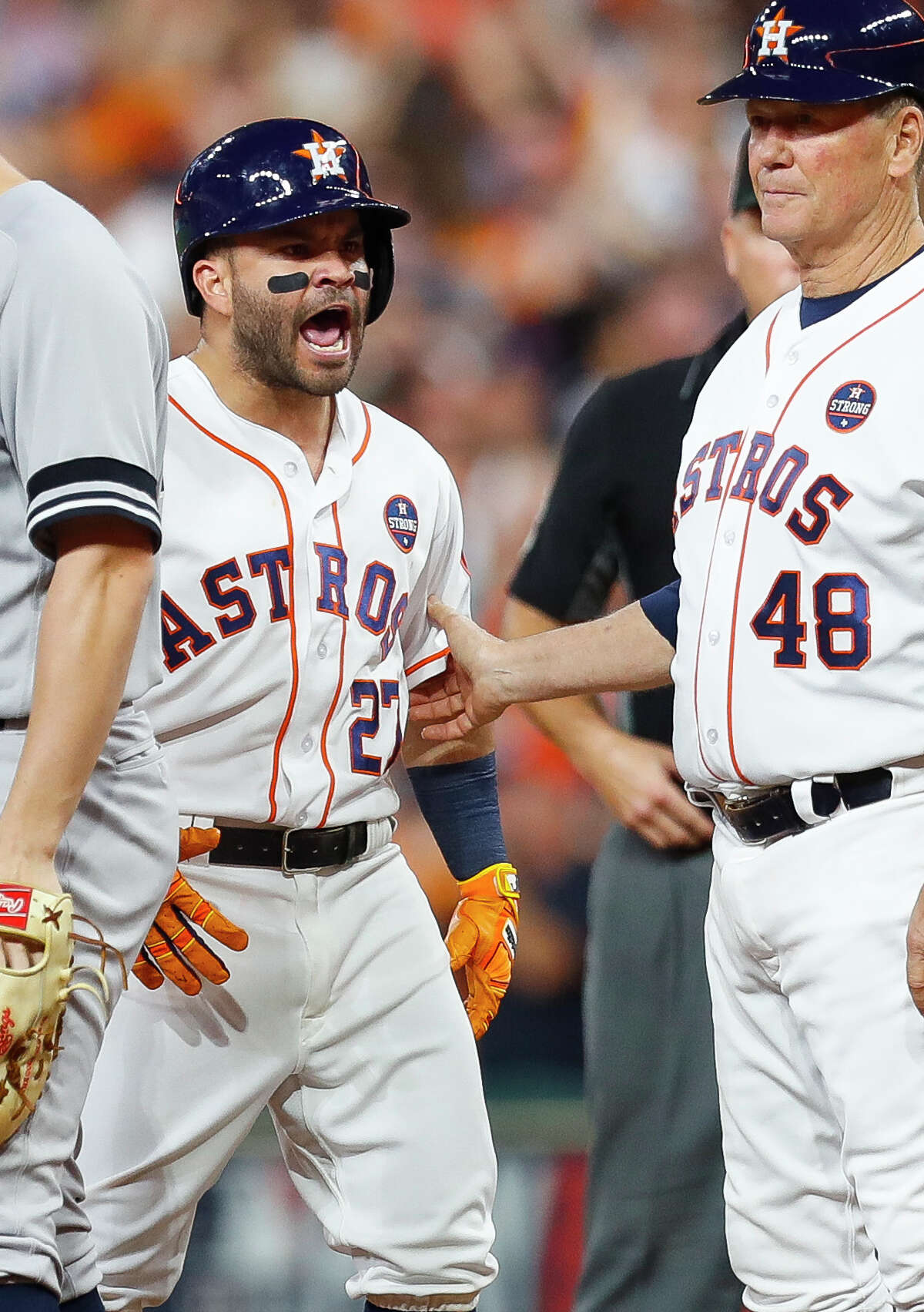 Houston Astros second baseman Jose Altuve (27) celebrates his two-run RBI single that gave the Astros a 3-0 lead over the Yankees in the fifth inning of Game 6 of the ALCS at Minute Maid Park on Friday, Oct. 20, 2017, in Houston. ( Brett Coomer / Houston Chronicle )