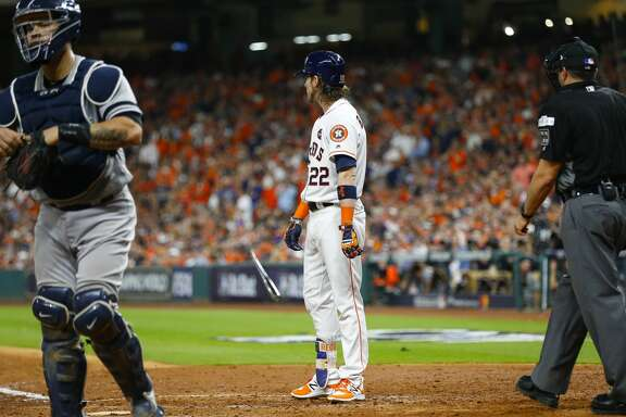 Houston Astros right fielder Josh Reddick (22) reacts to a strikeout in the seventh inning of Game 6 of the ALCS at Minute Maid Park on Friday, Oct. 20, 2017, in Houston. ( Brett Coomer / Houston Chronicle )