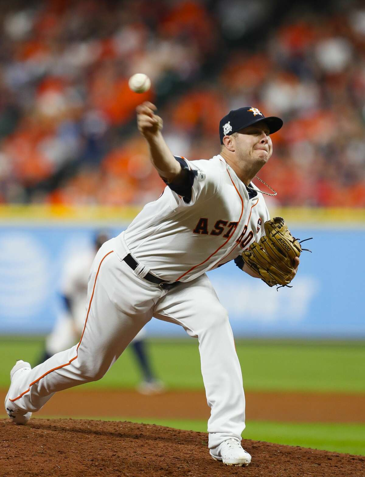 Houston Astros starting pitcher Brad Peacock (41) pitches during the eighth inning of Game 6 of the ALCS at Minute Maid Park on Friday, Oct. 20, 2017, in Houston. ( Brett Coomer / Houston Chronicle )