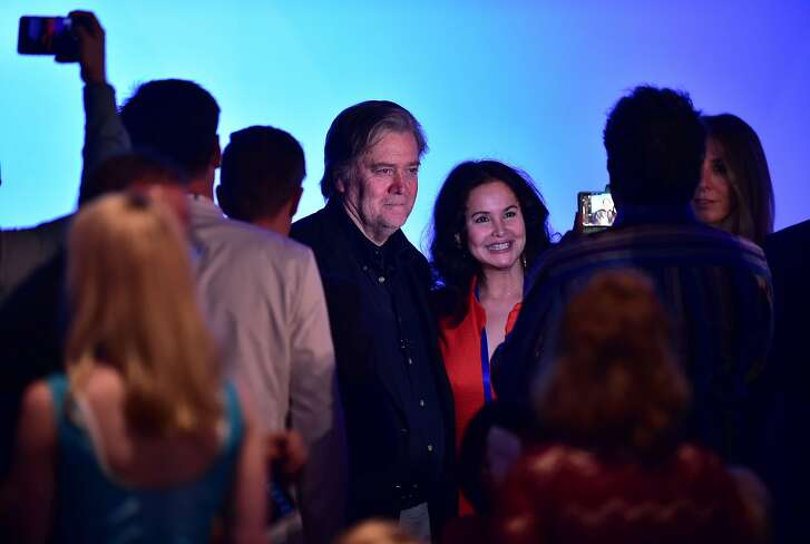 Attendees photograph Steve Bannon during the California GOP 2017 Convention in Anaheim, California on October 20, 2017. / AFP PHOTO / FREDERIC J. BROWNFREDERIC J. BROWN/AFP/Getty Images