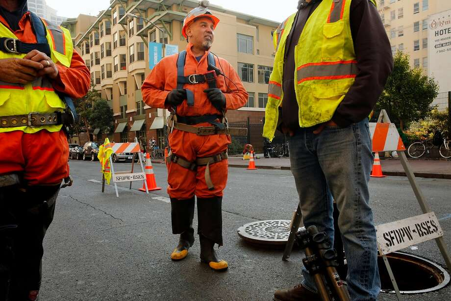 Sewer serviceman Fred Gonzales gets set to enter the sewer system under the 300 block of Ellis Street in San Francisco. Photo: Michael Macor, The Chronicle