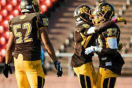 Mission Izair Jones (32) celebrates with his teammates after scoring a touchdown at Kezar Stadium in San Francisco, Calif. Friday, October 20, 2017.