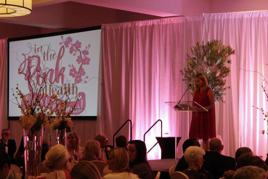"Dr. Stephanie Parke talks about ""Surviving Survival"" at the 10th annual In the Pink Luncheon benefiting Project Mammogram and presented by Northeast Hospital Authority on Friday, Oct. 20. Photo: Julie Silva"