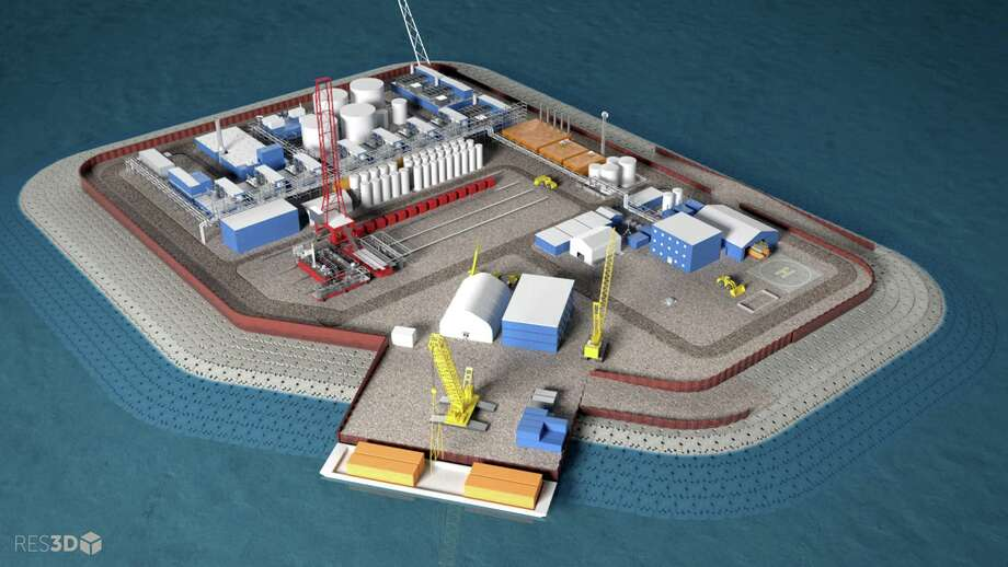 This illustration provided by Hilcorp Alaska shows a model of an artificial gravel island of the Liberty Project, a proposal to drill in Arctic waters from this island.  Photo: HONS / Hilcorp Alaska Inc.