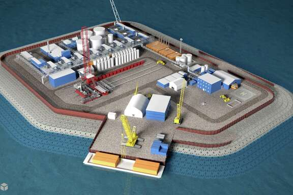 This illustration provided by Hilcorp Alaska shows a model of an artificial gravel island of the Liberty Project, a proposal to drill in Arctic waters from this island.