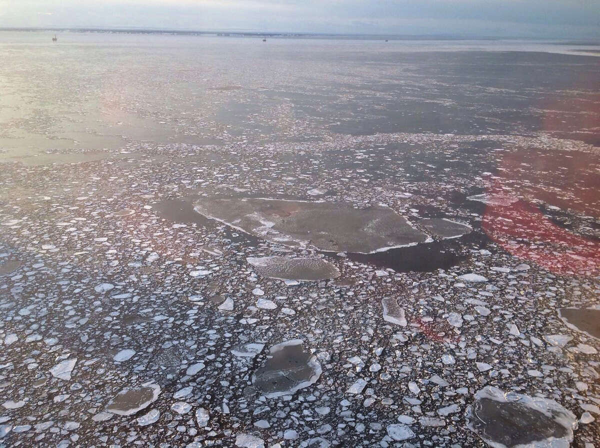 This April photo provided by Cook Inlet Spill Prevention and Response shows pan ice near a Hilcorp Alaska offshore platform in Cook Inlet, Alaska.