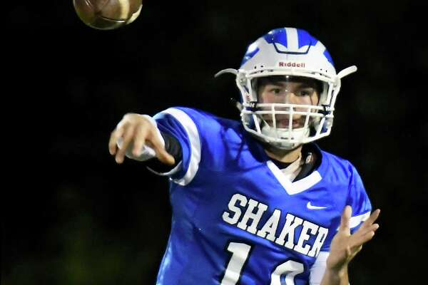 Shaker QB #19 Joseph Clausi fires off a pass during Friday's game against Guilderland Oct. 20, 2017 in Colonie, NY.  (John Carl D'Annibale / Times Union)