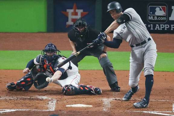 New York Yankees right fielder Aaron Judge (99) strikes out during the third inning as the Houston Astros take on the New York Yankees in Game 6 of the ALCS at Minute Maid Park Friday, Oct. 20, 2017 in Houston. ( Michael Ciaglo / Houston Chronicle)
