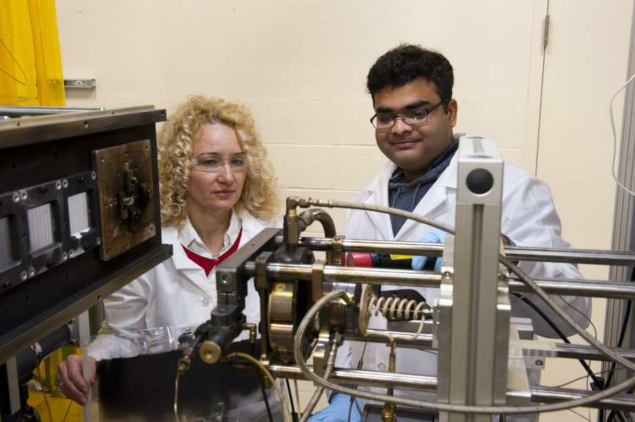 Radenka Maric in her lab at UConn's Center for Clean Energy with graduate student Rishabn Jain Photo: Contributed Photo