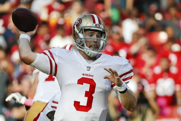 San Francisco 49ers quarterback C.J. Beathard (3) passes the ball during the second half of an NFL football game against the against the San Francisco 49ers in Landover, Md., Sunday, Oct. 15, 2017. (AP Photo/Pablo Martinez Monsivais)