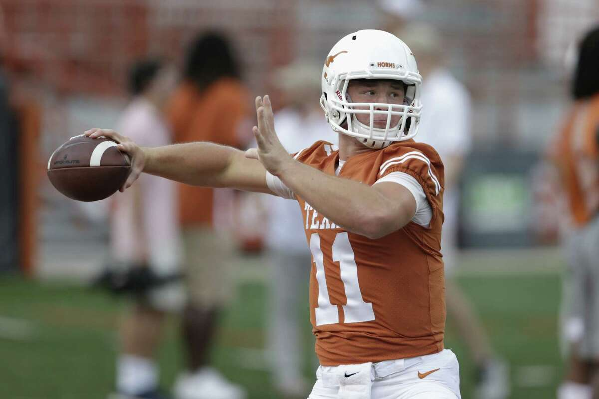 AUSTIN, TX - OCTOBER 21: Sam Ehlinger #11 of the Texas Longhorns warms up before the game against the Oklahoma State Cowboys at Darrell K Royal-Texas Memorial Stadium on October 21, 2017 in Austin, Texas.