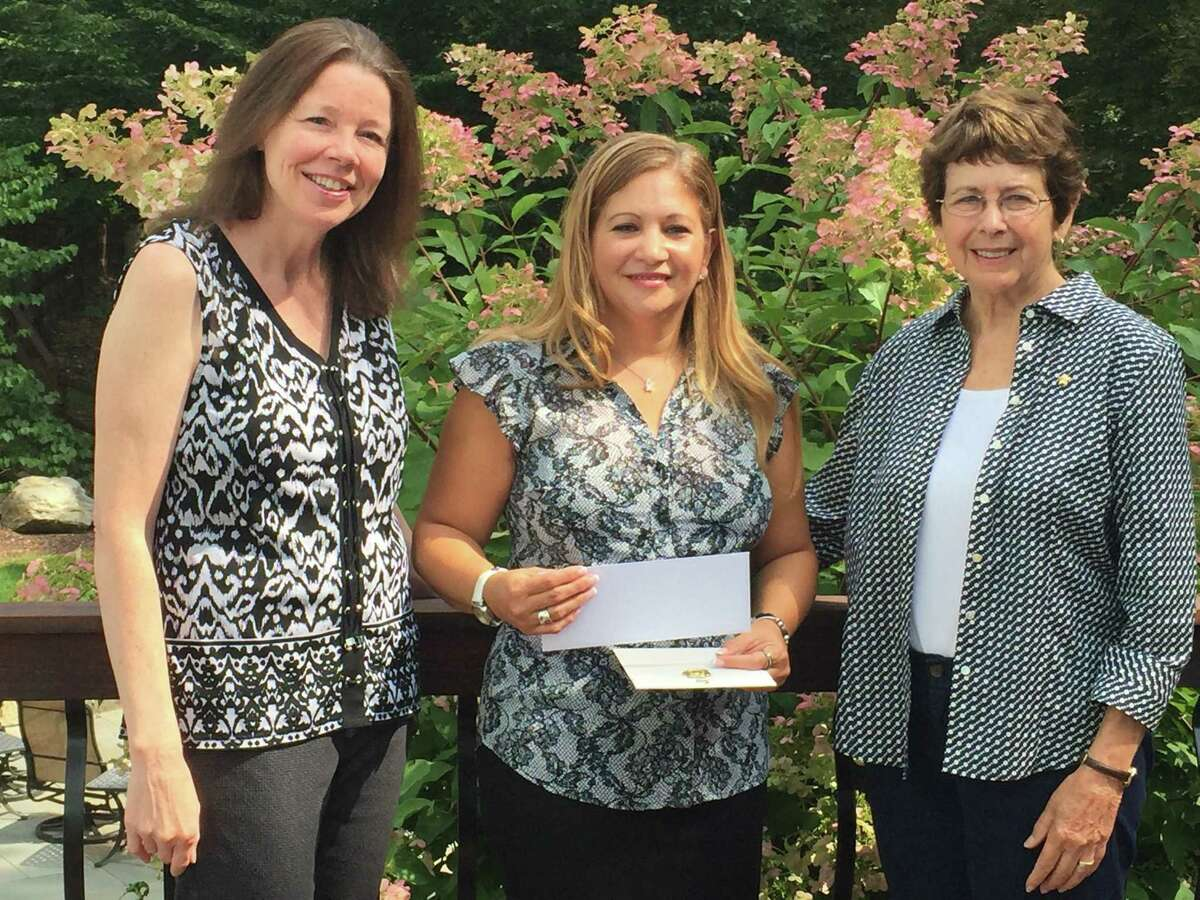 Left to right: Weston Chapter P co-chairman for the Program for Continuing Education (P.C.E.) grant Charlene O'Dell Avila, P.C.E. grant recipient Karina Reininger, and Lynda Hennessy, Weston Chapter P P.C.E. co-chairman at a recent P.E.O. meeting where Reininger received her grant.