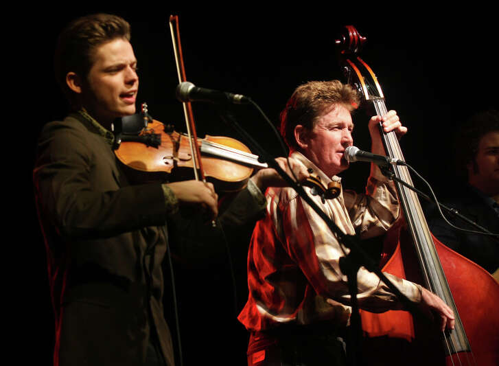 David Ball, right, and Warren Hood perform at a Walter Hyatt tribute during the SXSW Music Festival in Austin in 2008.
