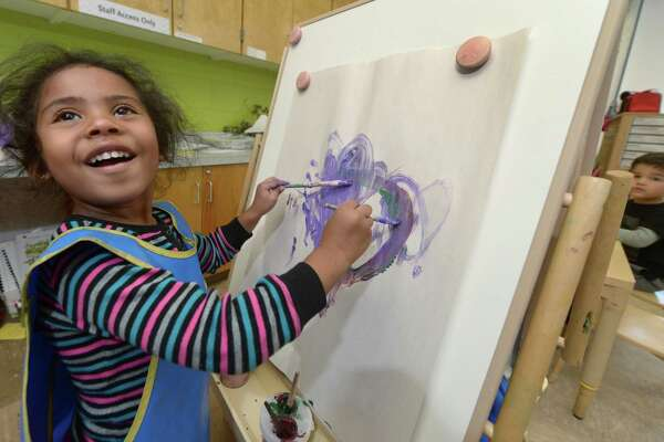 Preschooler Nyla Butler paints during her ELLI class at Fox Run Elementary School Thursday, October, 18, 2017, in Norwalk, Conn. Norwalk Public Schools made waves when the Board of Education voted to implement the Early Language and Literacy Initiative (ELLI) curriculum in all of its preschools in accordance with Superintendent Steven Adamowskis Strategic Operating Plan for closing the achievement gap. The ELLI program was developed by Stepping Stones Museum for Children and Literacy How.