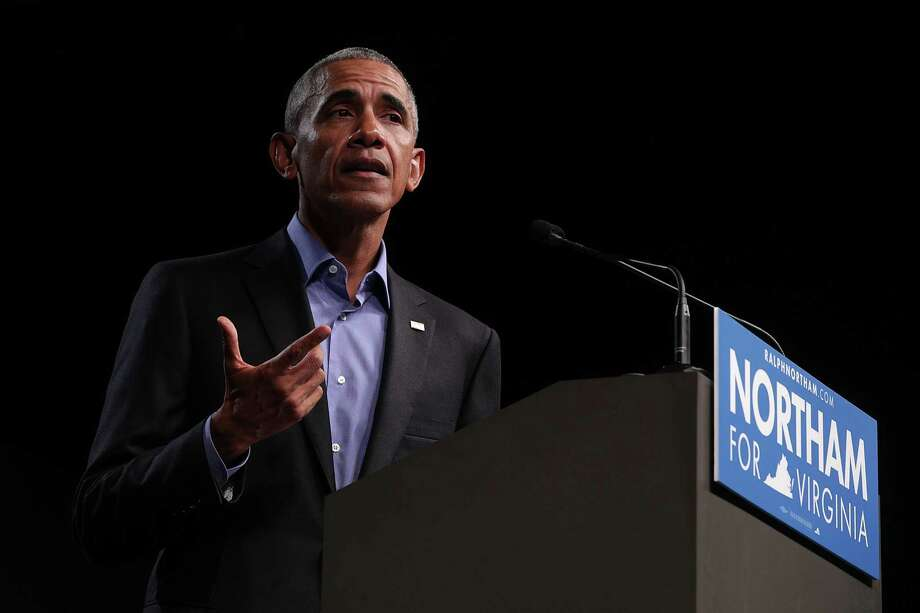 Former President Barack Obama called on Democrats to reject politics of 'division' and 'fear' at a rally for gubernatorial candidate and Virginia Lt. Governor Ralph Northam in Richmond, Va.  Photo: Alex Wong, Staff / 2017 Getty Images