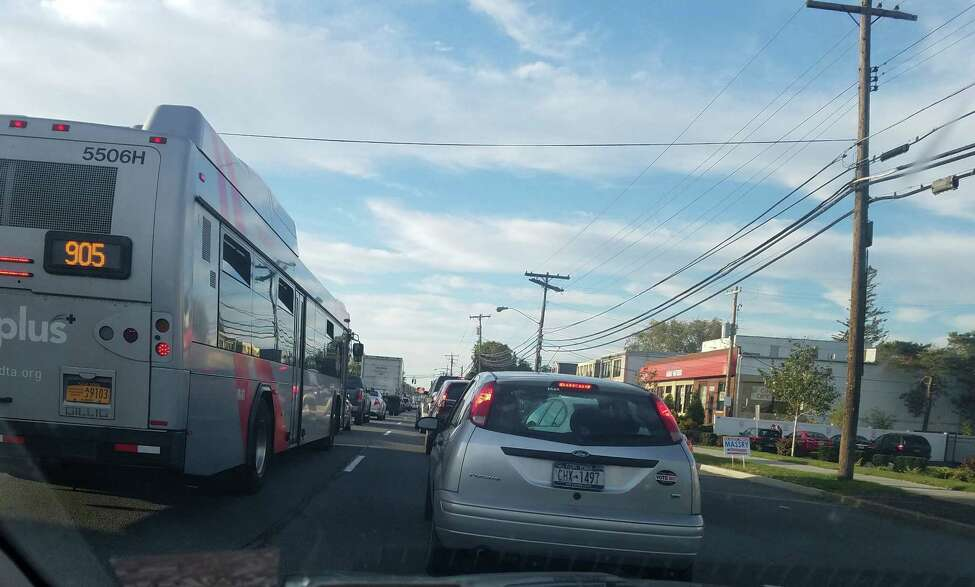Gridlock on Central Avenue in Colonie on a recent afternoon. Traffic congestion in the growing town is a frustration for many residents. (Contributed photo)