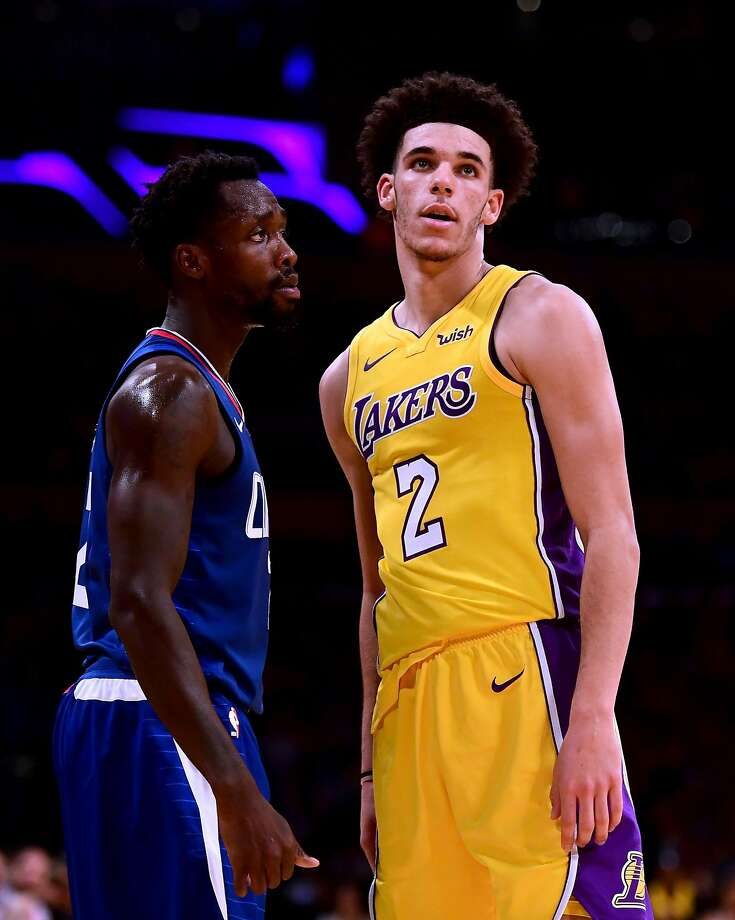 "The Clippers' Patrick Beverley, left, told the Lakers' Lonzo Ball to ""be ready"" after LaVar Ball's publicity stunts. Photo: Harry How, Getty Images"