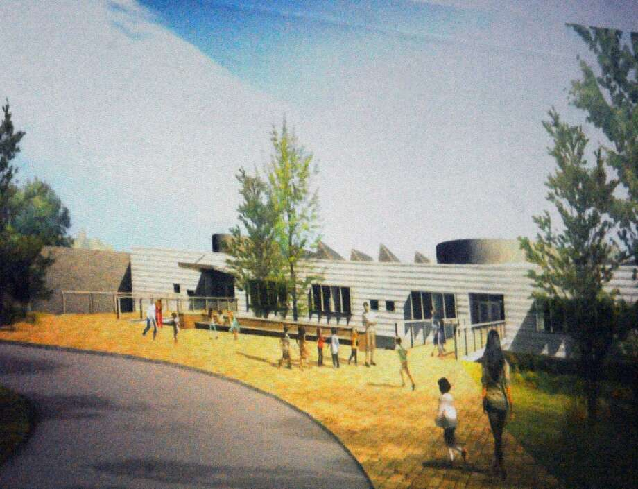 An artistic rendering of the new New Lebanon School was shown during a presentation by Ryszard Szczypek of Tai Soo Kim Partners Architects of the plans for the new New Lebanon School at New Lebanon School in the Byram section of Greenwich, Conn., Thursday night, Sept. 29, 2016. Photo: Bob Luckey Jr. / Hearst Connecticut Media / Greenwich Time
