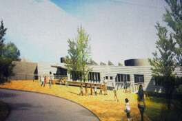An artistic rendering of the new New Lebanon School was shown during a presentation by Ryszard Szczypek of Tai Soo Kim Partners Architects of the plans for the new New Lebanon School at New Lebanon School in the Byram section of Greenwich, Conn., Thursday night, Sept. 29, 2016.