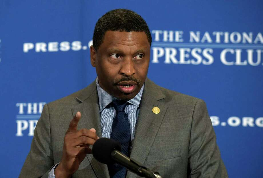 FILE - In this Aug. 29, 2017, file photo, Derrick Johnson speaks at a National Press Club (NPC) in Washington.  The NAACP has decided to hire its interim leader, Derrick Johnson, as its 19th president and CEO. The board of directors of the nation's oldest civil rights organization made the decision on Saturday, Oct. 21, 2017.  (AP Photo/Susan Walsh, File) Photo: Susan Walsh, STF / Copyright 2017 The Associated Press. All rights reserved.
