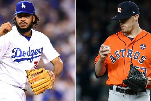 Split photo of Dodgers closer Kenley Jansen and Astros closer Ken Giles.