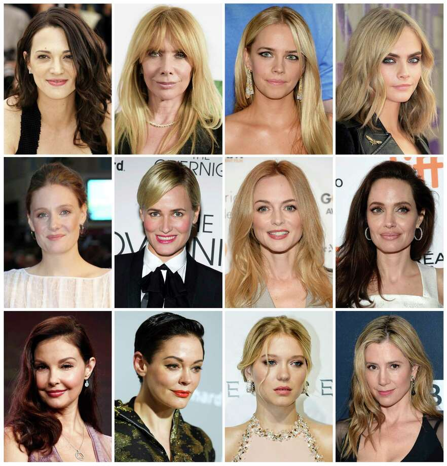 Actresses listed in alphabetical order, top row from left, Asia Argento, Rosanna Arquette, Jessica Barth, Cara Delevingne, Romola Garai, Judith Godreche, Heather Graham, Angelina Jolie, Ashley Judd, Rose McGowan, Lea Seydoux and Mira Sorvino, who have made allegations against producer Harvey Weinstein. Photo: STF / AP