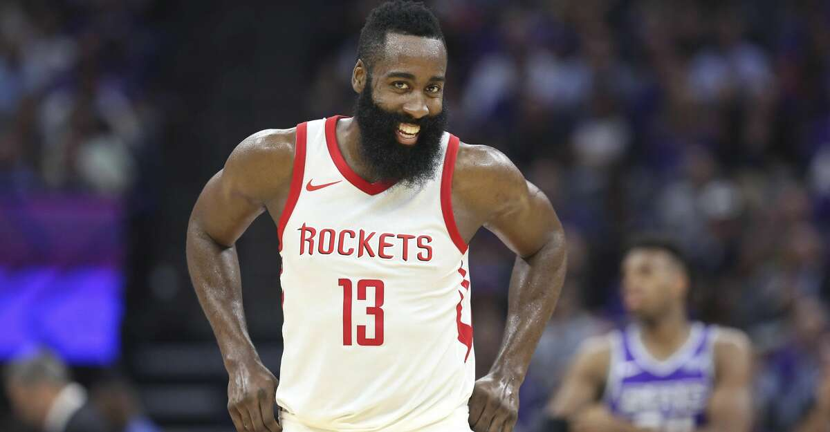 Houston Rockets guard James Harden (13) reacts after hitting a shot against the Sacramento Kings during the second half of an NBA basketball game in Sacramento, Calif., Wednesday, Oct. 18, 2017. The Rockets won 105-100. (AP Photo/Steve Yeater)