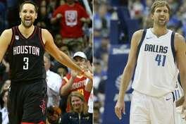 Split photo of Rockets' Ryan Anderson and Mavericks' Dirk Nowitzki.