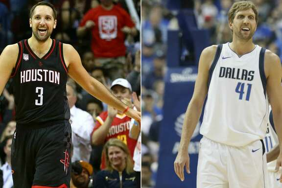 Split photo of Rockets' Ryan Anderson and Mavericks' Dirk Nowitzki.