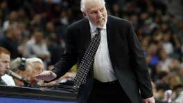 Spurs head coach Gregg Popovich reacts after a call during game against the Minnesota Timberwolves at AT&T Center on Oct. 18, 2017 in San Antonio.