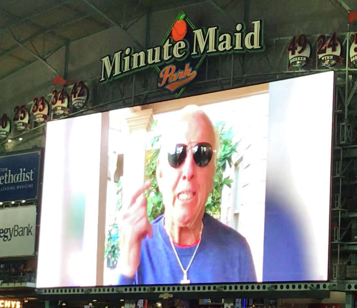 PHOTOS: Ric Flair impersonators at the Astros game, and the real Ric Flair at other sporting events around the country The Houston Astros had Ric Flair record a video that they played before Game 7 of their American League Championship Series against the Yankees on Saturday, Oct. 21, 2017 at Minute Maid Park. Browse through the photos above for a look at Ric Flair impersonators at the Astros game, and the real Ric Flair at other sporting events around the country.