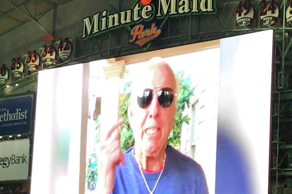 The Houston Astros had Ric Flair record a video that they played before Game 7 of their American League Championship Series against the Yankees on Saturday, Oct. 21, 2017 at Minute Maid Park.
