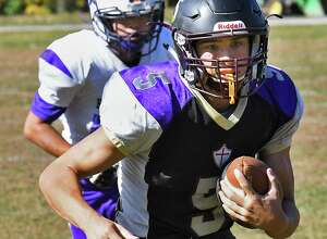 Holy Trinity's #5 Noah Foster during Saturday's game against Voorheesville  Oct. 21, 2017 in Schenectady, NY.  (John Carl D'Annibale / Times Union)
