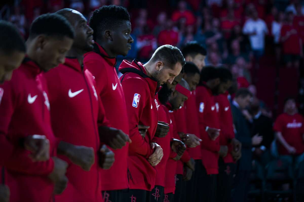 Houston Rockets forward Ryan Anderson (33) bows his head during the national anthem right before a game against the Dallas Mavericks, Saturday, Oct. 21, 2017, at the Toyota Center in Houston. ( Marie D. De Jesus / Houston Chronicle )