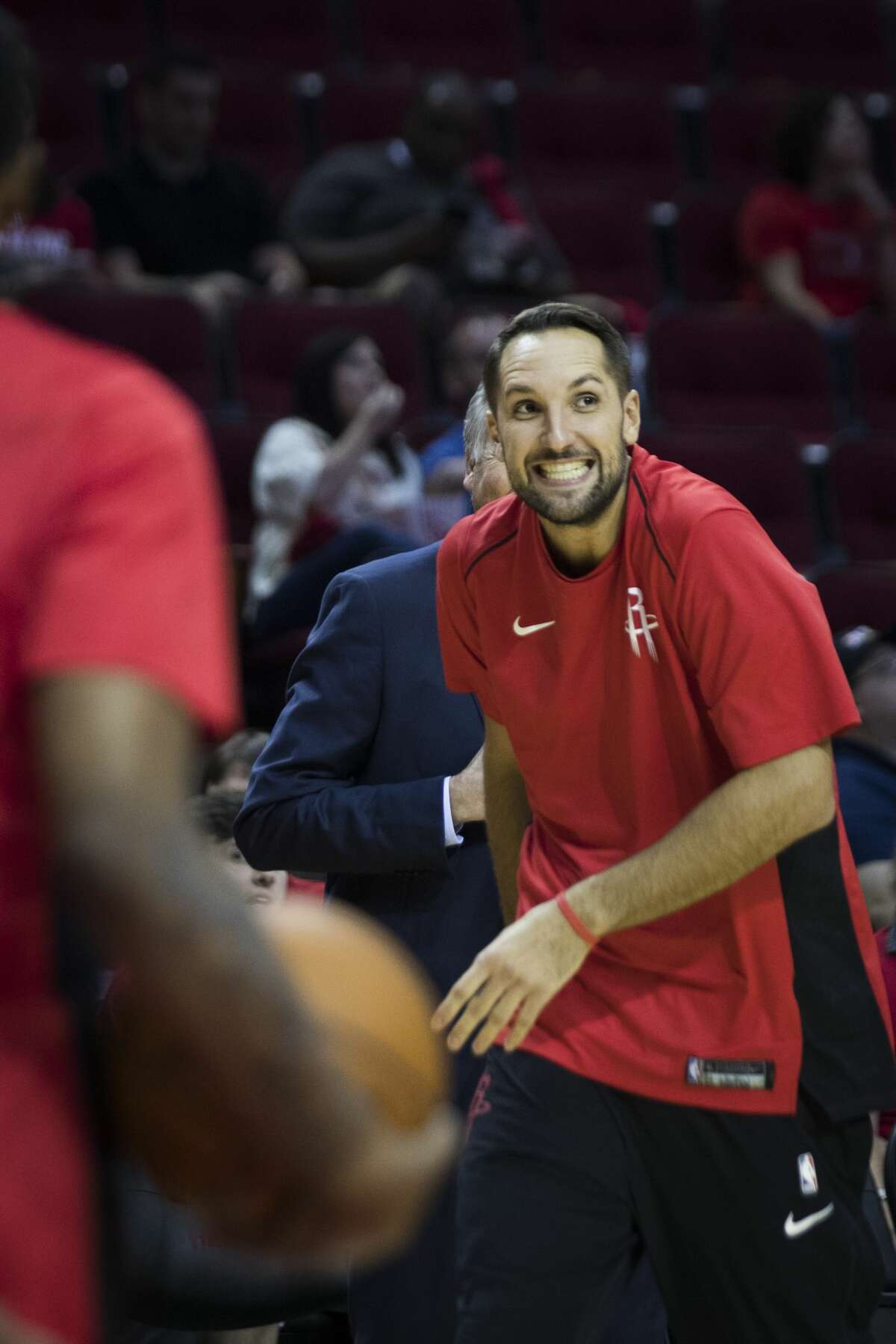 Houston Rockets forward Ryan Anderson (33) goofs around while warming up before the game against the Dallas Mavericks, Saturday, Oct. 21, 2017, at the Toyota Center in Houston. ( Marie D. De Jesus / Houston Chronicle )