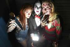 Chuckie, Vampire, and Freddy Krueger aka Lauren Gualdino, Christine Lasagne and Jackie Giardina, all of White Plains, N.Y. enjoy the festivities during Half Full Brewery 5th Anniversary Halloween Bash in Stamford, Connecticut on Saturday, Oct. 21, 2017. A crowd of 250 costume guests enjoyed pints of Half Full's Positively Pumpkin Ale, the music of Black Rocks Pocket Hotties and cuisine from Nosh Hound & Hapa food trucks.