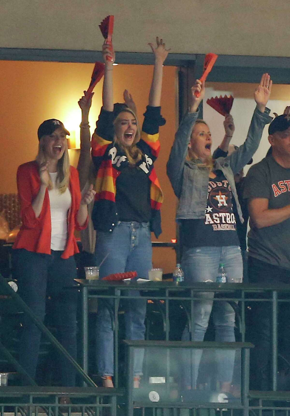 Count Kate Upton as a celeb fan of the Astros. Model Kate Upton (C) cheers for the Houston Astros from a suite at Minute Maid Park. Scroll through to see more celebrities for Houston sports teams.