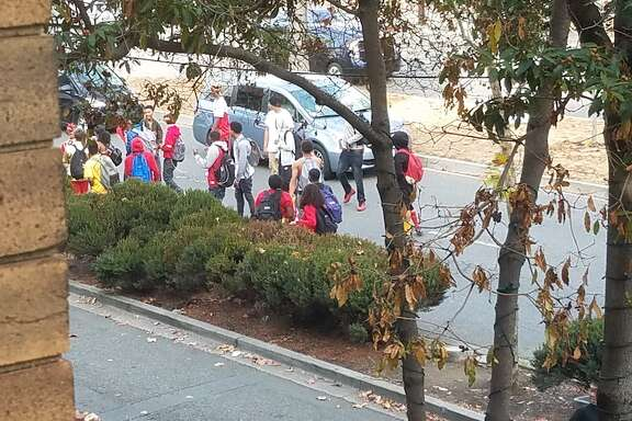 Some of the BHS students who took to the streets Friday after school on the last day of Unity Week. Photo, taken from Shattuck Avenue and Bancroft Way.