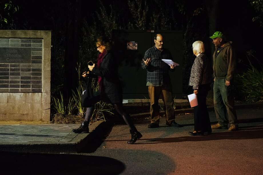 "Daniel Olson passes out flyers urging theatergoers to boycott ""Thomas and Sally"" at the Marin Theatre Company.  Photo: Mason Trinca, Special To The Chronicle"