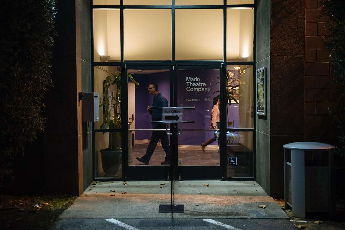 """Patrons walk the halls of the Marin Theatre Company before seeing the """"Thomas and Sally"""" play in Mill Valley, Calif. Friday, October 20, 2017."""