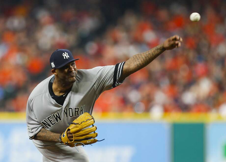 New York Yankees starting pitcher CC Sabathia (52) throws during the second inning of Game 7 of the ALCS at Minute Maid Park on Saturday, Oct. 21, 2017, in Houston. ( Brett Coomer / Houston Chronicle ) Photo: Brett Coomer/Houston Chronicle
