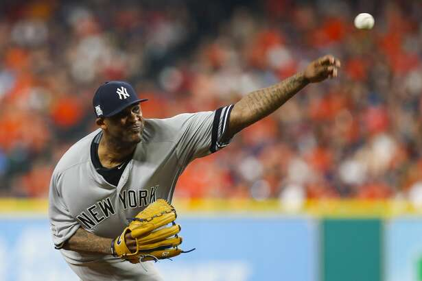 New York Yankees starting pitcher CC Sabathia (52) throws during the second inning of Game 7 of the ALCS at Minute Maid Park on Saturday, Oct. 21, 2017, in Houston. ( Brett Coomer / Houston Chronicle )