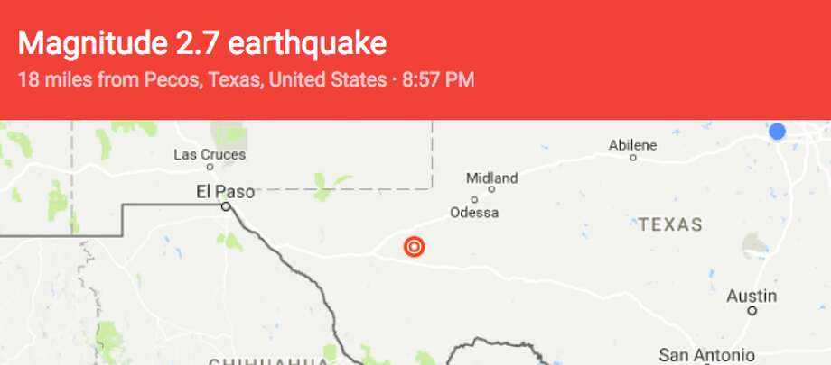 The USGS then reported a 2.7-magnitude earthquake 29 miles south-southeast of Pecos around 8:57 p.m. Photo: Google