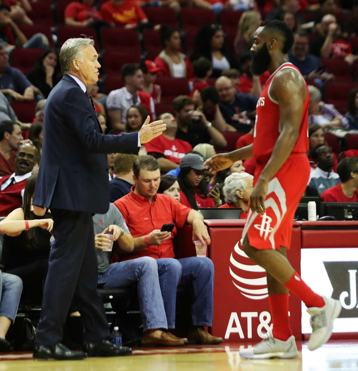 Houston Rockets head coach Mike D'Antoni extends his hand to shake Houston Rockets guard James Harden's hand during the second half of the game against the Dallas Mavericks, Saturday, Oct. 21, 2017, in Houston. The Rockets win 107-91. ( Marie D. De Jesus / Houston Chronicle )