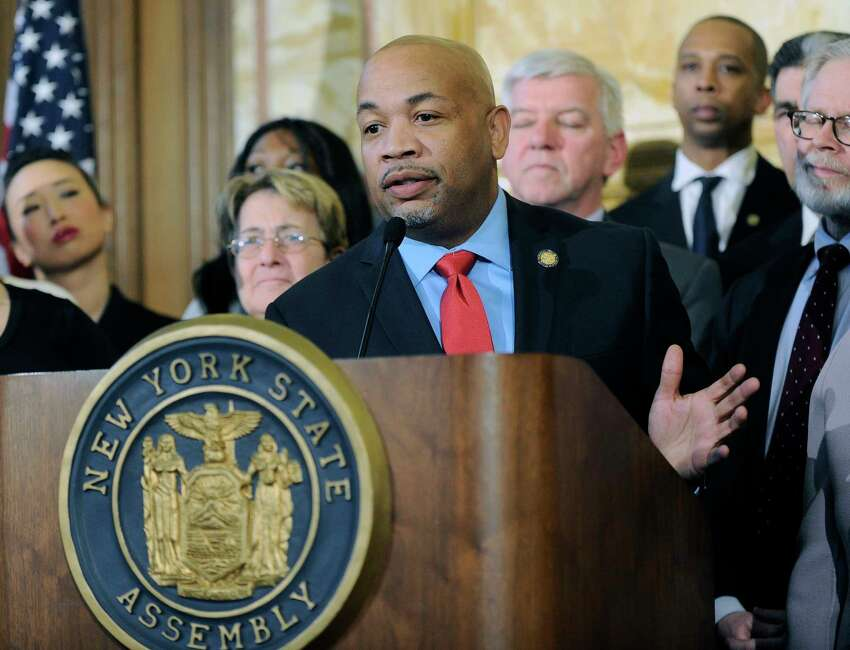 Assembly Speaker Carl Heastie, D-Bronx, speaks during a news conference announcing the Assembly would pass legislation protecting women's reproductive health rights and affordable family planning, Tuesday, Jan. 17, 2017, at the Capitol in Albany, N.Y. (AP Photo/Hans Pennink) ORG XMIT: NYHP105