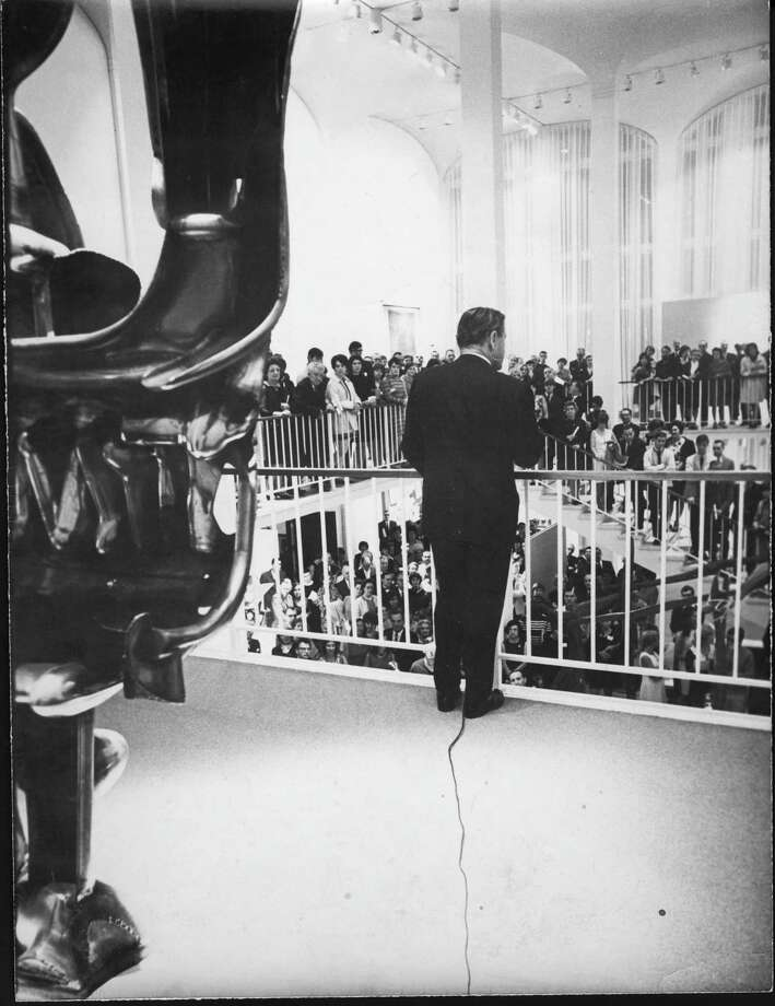 Nelson Rockefeller at the UAM opening reception in 1967 (image courtesy University at Albany / University Art Museum)